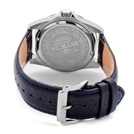 Silver buckle and Invicta scrolled on the back of Pro Diver watch