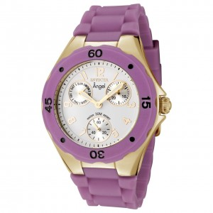 the Invicta Angel Collection Gold-Plated Purple Polyurethane Watch 0710