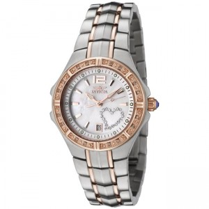 Invicta Women's 'Wildflower' Two-tone White Diamond and Crystal Watch 0694