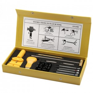 Yellow synthetic leather case of watch repair tools open to show tools and instructions