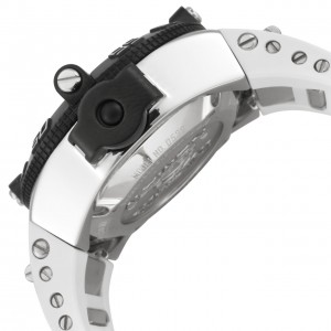 Sideview of the Subaqua Noma IV 538 shows the stainless steel case, band attachment hardware and crown protector