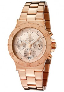 Invicta Men's Specialty Chronograph Rose Dial 18K Rose Gold Plated Stainless Steel