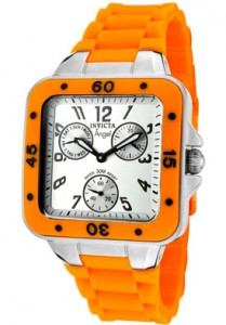 Invicta Women's Angel Silver Dial Neon Orange Rubber Quartz 1282