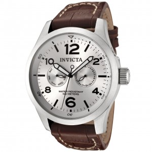 Invicta Men's Invicta II Silver Dial Brown Leather Quartz Watch 0765
