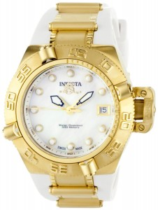Image of Invicta Women's Subaqua Noma IV Collection 18k Gold-Plated Stainless Steel and White Polyurethane 0540 Watch