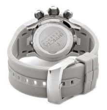 A back view of the Invicta Reserve Chronograph shows its grey polyurethane band and stainless steel buckle. The band is of average length.