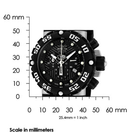 The Invicta Subaque shown with measurements – it is 50mm high, 50mm wide, and 20mm thick.