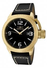 The Invicta Corduba (1111) shown up close, with white numerals, black dial, and gold case constrasting and complimenting the black leather strap nicely.
