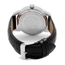 Back view of the Invicta Speciality (11413) – it's thick, black, leather strap; stainless steel case; and stainless steel buckle clasp.