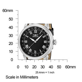 The Invicta Specialty (11423) shown with measurements – its case is 45mm (1.77 inches) in diameter.