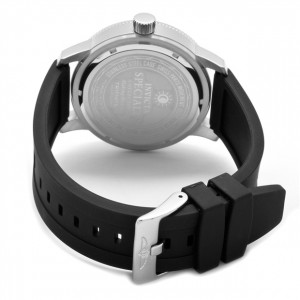 The Invicta Specialty (11423) showing its Black, Polyurethane Strap with Stainless Steel Buckle Clasp.
