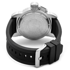 Rear view of the Invicta II (1431) showing the back of its stainless steel case as well as the black, polyurethane strap complete with a stainless steel buckle clasp.
