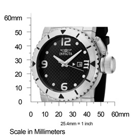 The Invicta II (1431) shown against a scale to demonstrate its measurements (47mm wide by 54mm high).