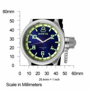 The Invicta Russian Diver (1434) shown with measurements – the case is 52mm in diameter making it much larger than most watches.