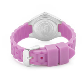 Rear View of the Invicta Angel (1613) showing the underside of its stainless steel case and showcasing the light purple band of the Invicta Angel (1613) made of rubber and finished with a stainless steel, buckle clasp.