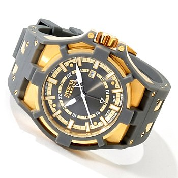 Front view of the Invicta Reserve (0628) – Grey Face and Polyurethane Strap with Gold-Plated Case as well as Gold Crown, Numerals, and Hands.