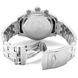 Rear View of the Invicta II Chronograph (0621) showing its stainless steel bracelet and deployment clasp.
