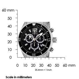 The Invicta II Chronograph (0621) Shown with Measurments - 45mm in diameter and 12mm thick