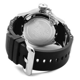 Rear view of the Invicta Men's Russian Diver 1800 showing its stainless steel buckle clasp and polyurethane strap.