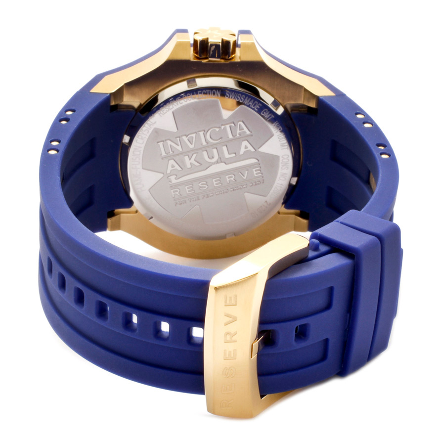 Rear view of the Invicta Reserve Akula (0629) showing its blue, polyurethane strap and stainless steel, gold plated buckle clasp.
