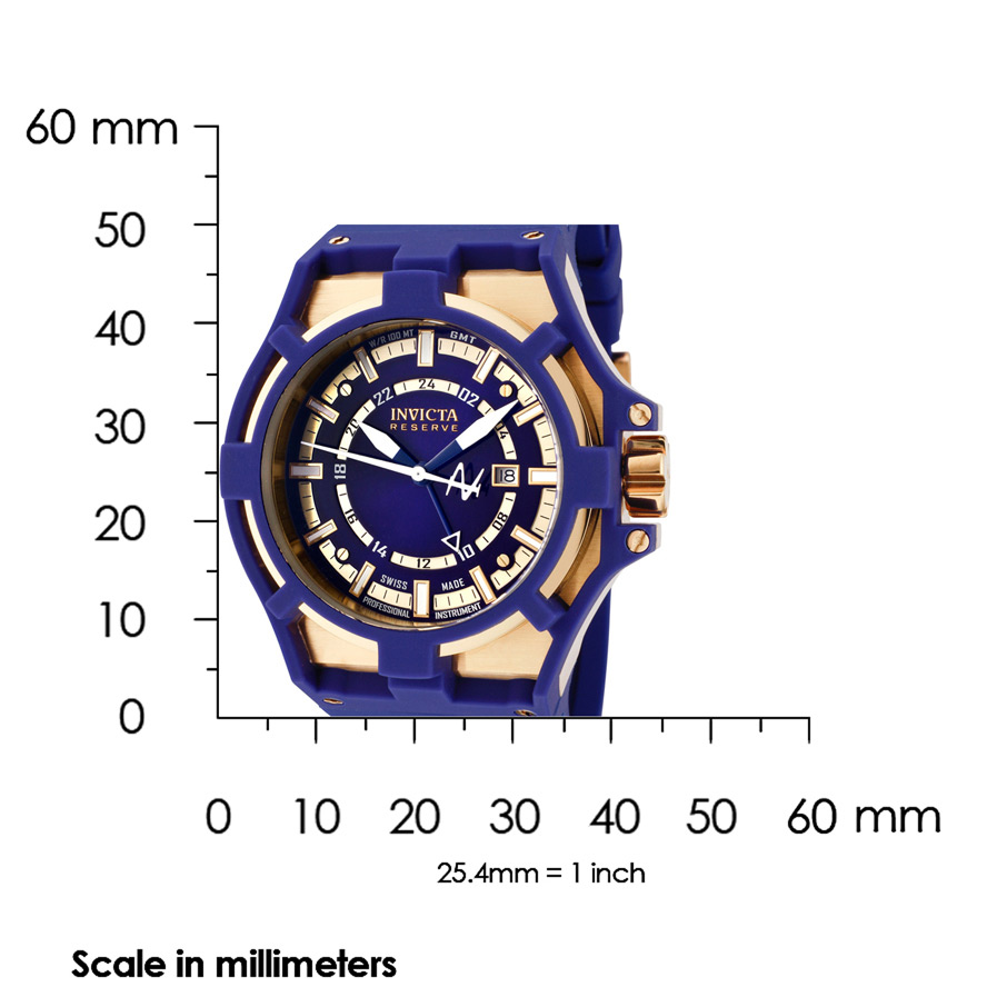 The Invicta Reserve Akula 0629 Shown with Meassurements - 50mm in diameter and 18mm thick.