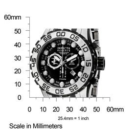 The Invicta Reserve (0814) shown with measurements.