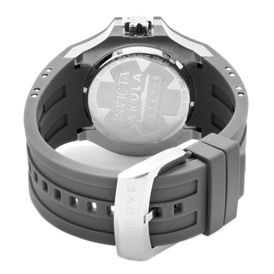 Rear view of the Invicta Reserve Akula (0625) showing its grey, polyurethane strap and stainless steel buckle clasp.